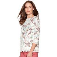 Women's Ladies cotton jersey three quarter length sleeve crochet lace trim floral print top