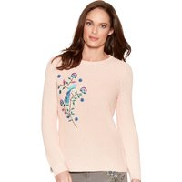 Women's Ladies long sleeve thick woven knit Floral bird stitch embroidered jumper
