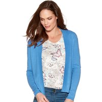 Women's Ladies plain fine knit long sleeve open front Edge to edge cover up cardigan