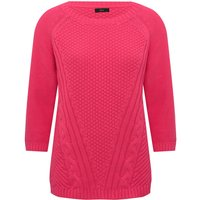 Women's Ladies round neck three quarter length sleeves cable knit cotton blend jumper