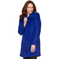 Women's Ladies bright blue long sleeve two pockets concealed zip fastening Funnel neck boucle coat