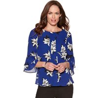 Women's Ladies scoop neck three quarter length flute frill sleeve floral print shell top