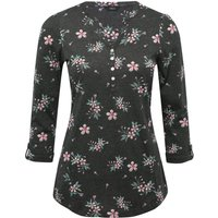 Women's Ladies soft cotton jersey tabbed three quarter length sleeve notch neck Floral print shirt