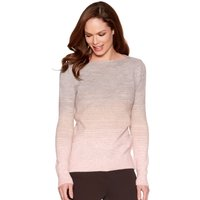 Women's Ladies fine ribbed knit slim fit long sleeve scoop neck two tone faded Ombre jumper