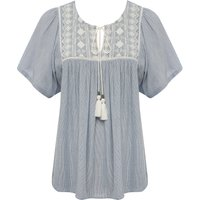 Women's Ladies short sleeve gypsy style embroidered peasant top