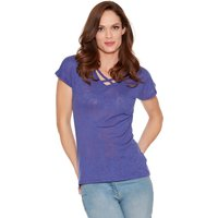 Women's Ladies short sleeve v neck lattice front jersey palm print top
