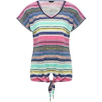 Women's Ladies cotton jersey short sleeve v neck crochet lace trim Stripe print tie front top
