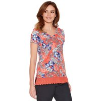 Womens Ladies tropical print cotton short sleeve v neck lace hem t-shirt