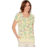 Womens Ladies floral print cotton short sleeve v neck lace hem t-shirt