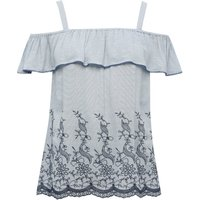 Women's Ladies floral embroidered cold shoulder thick strap frill top