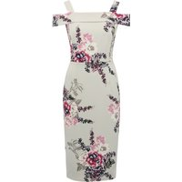 Women's Ladies bardot cold shoulder bodycon floral pencil dress wedding guest races dress