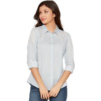Women's Ladies three quarter length sleeve classic collar lightweight stripe embroidered shirt