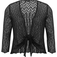 Women's Ladies classic 3/4 sleeve light textured popcorn knit tie front cover up summer shrug