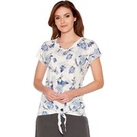 Women's Ladies cotton jersey short sleeve v neck lace trim Dragonfly floral rose print tie front top