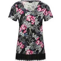 Womens Ladies cotton jersey black short sleeve scoop neck tropical floral print lace hem t-shirt