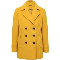 Women's Ladies yellow boucle single breasted button front winter pea coat