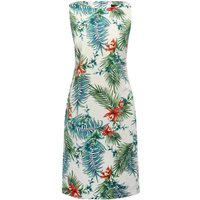 Women's Ladies cotton stretch sateen sleeveless topical floral palm print shift dress