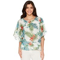 Women's Ladies lightweight chiffon batwing half sleeve Tropical  floral print stud embellished top