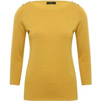 Women's Ladies Three quarter length sleeve crew neck textured Ribbed knit button trim jumper