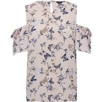Women's Ladies butterfly print round neck short frill sleeve cold shoulder top