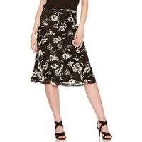 Women's Ladies high waisted knee length structured panels Floral lace A line skirt