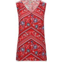 Women's Ladies jersey blend red sleeveless v neck floral chevron print pull on top
