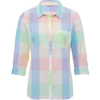 Women's Ladies three quarter length tabbed sleeves classic collar cotton pastel check print shirt