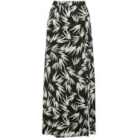 Womens Ladies high waisted wrap fit button trim side split topical Palm print maxi skirt