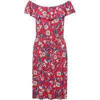 Women's Ladies pink short sleeve floral print border gypsy style frill layer pull on tie waist midi