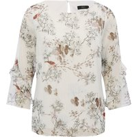 Women's Ladies Three quarter length frill sleeve crew neck floral bird print shimmer top
