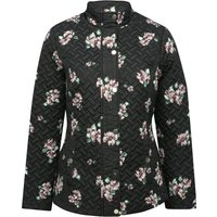 Women's Ladies long sleeve high funnel neckline Floral print quilted coat