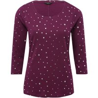 Women's Ladies cotton jersey Three quarter length sleeve crew neck silver Foil star print t-shirt