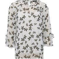 Women's Ladies three quarter length tie sleeve Floral print sheer dobby blouse
