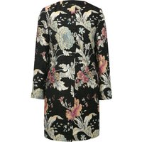 Women's Ladies floral baroque jacquard collarless dress frock coat