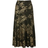 Women's Ladies black gold high waisted stretch waist gold shimmer jacquard print midi a line skirt
