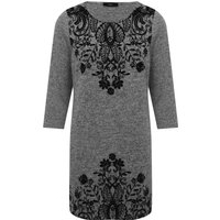 Women's Ladies three quarter length sleeve scoop neck stretch jersey floral border print tunic dress