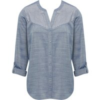Womens Ladies blue cotton blend chambray there quarter length tabbed sleeve lace yoke notch neck shirt