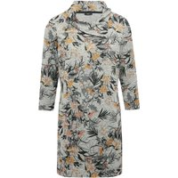 Women's Ladies three quarter length sleeve split neck grey knti floral print tunic dress