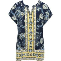Women's Ladies navy short sleeve yellow floral border print notch neck relaxed fit casual top