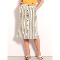 Womens Ladies stripe linen midi skirt button front stretch waist pull on co-ord