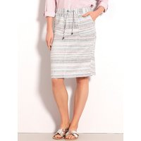 Womens Ladies pastel stripe linen skirt stretch waist drawstring tie pockets pencil