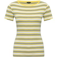 Women's Ladies yellow stripe t-shirt short sleeve crew neck cotton