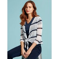Womens Ladies tie front striped shrug popcorn knit cover up