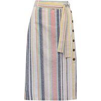 Womens Ladies striped midi skirt high waisted with side button tie waist belt split hem linen blend pastel