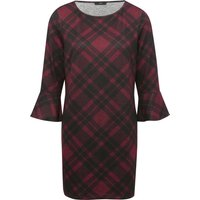 Women's Ladies three quarter length sleeve flute cuff black and red check print tunic dress