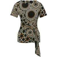 Womens Ladies black circle print wrap top with short sleeve round neck wooden buckle