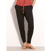 Womens Ladies black jersey harem trousers high stretch waist tapered leg soft touch