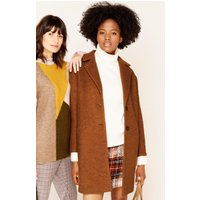 Women's Ladies single breasted coat in boucle fabric