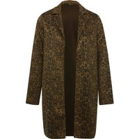 Womens Ladies leopard print coat in faux suede fabric