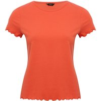 Womens Ladies short sleeve lettuce trim t-shirt in 100% cotton